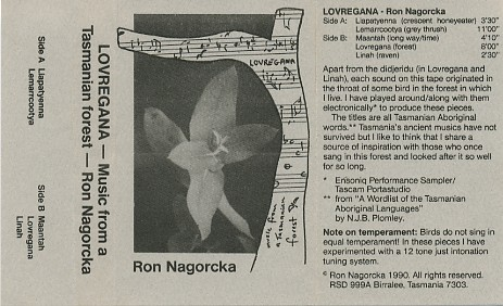 Ron Nagorcka - Lovregana - Music From A Tasmanian Forest