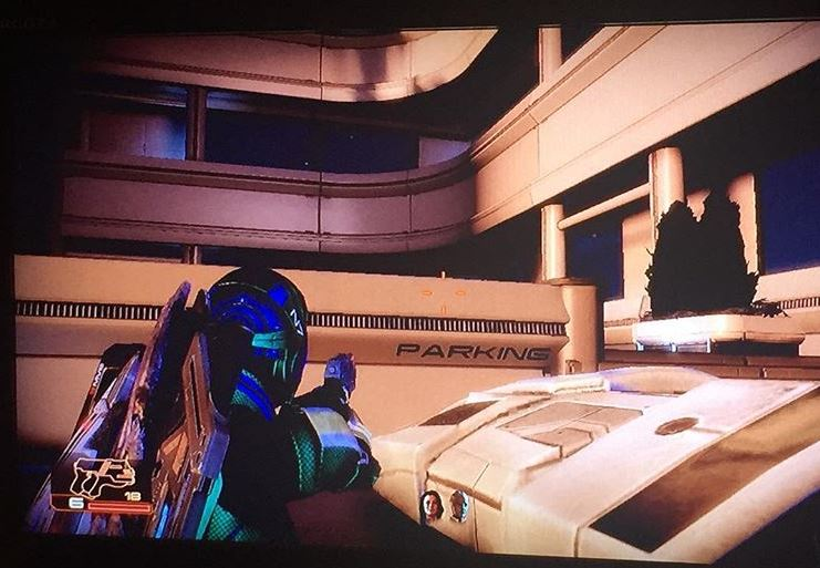 Screenshot of the author stuck in a parkade in Mass Effect 2